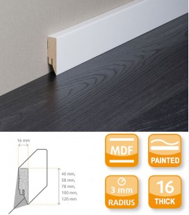 Topline MDF White Painted Skirting Board 1.1