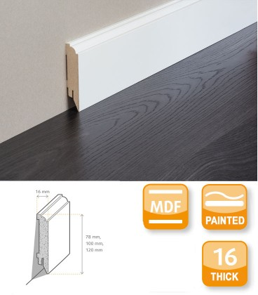 Renovation Skirting Board MDF White Painted 1.1