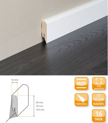 Modern Skirting Board MDF Primed Foil 1.1