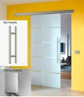 Atos on clear glass sliding door with flush handle