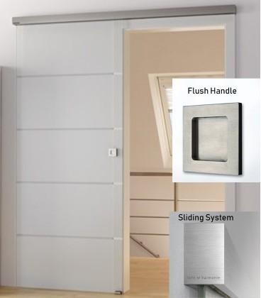 Atos glass sliding door with flush handle