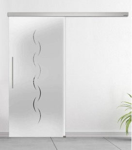 Alinea on frosted glass sliding door