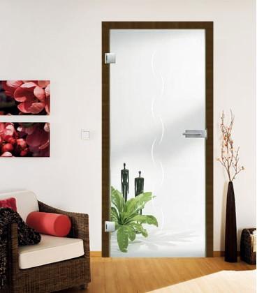 Alinea on clear glass door