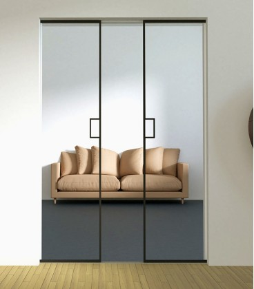 Pocket Double Doors with Metal Profiles on the Edge