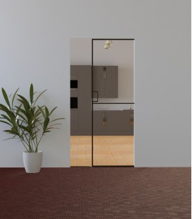 Pocket Door with Metal Profiles on the Edge