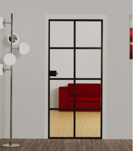Fire Rated Industrial Style Door With 3  Metal Profiles