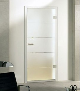 Atos on frosted glass door - Stock